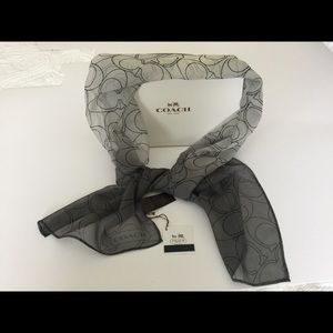 Coach silk scarf monogram degraded gray black long